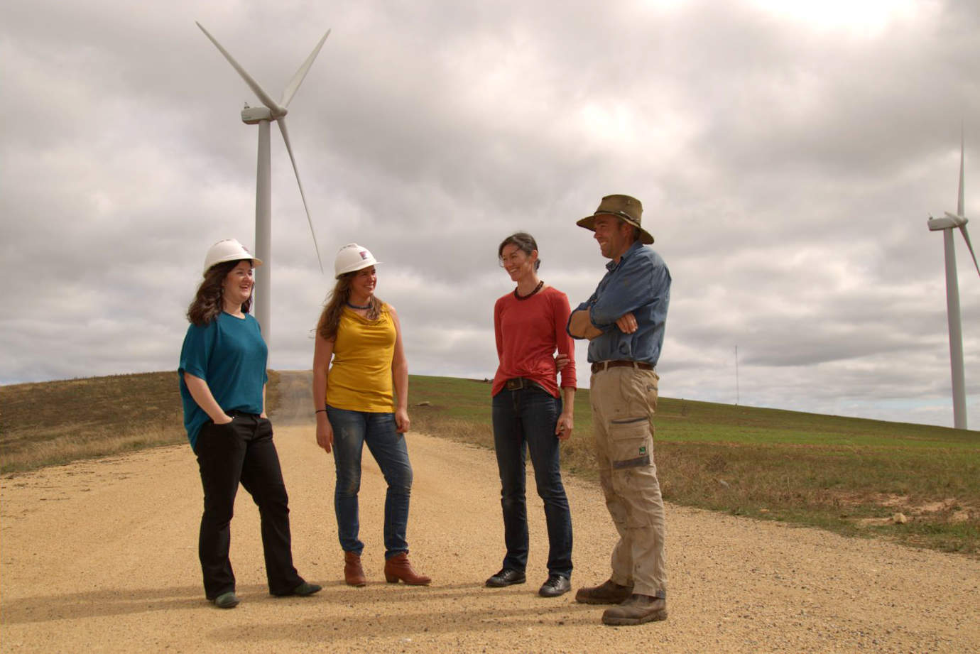 CPA Directors Elizabeth, Nicky & Jarra at a windfarm