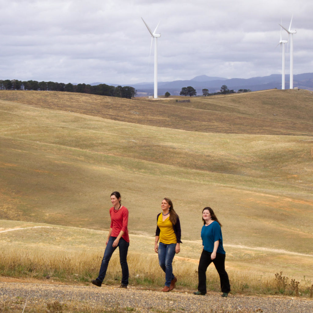CPA Directors Elizabeth Noble, Jarra Hicks & Nicky Ison at a wind farm
