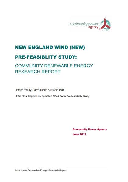New England Wind Pre Feasibility Study