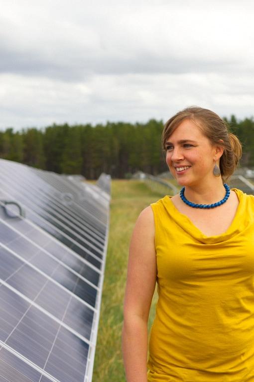 Community Power Agency Director Dr. Jarra Hicks at a community solar farm near Canberra.